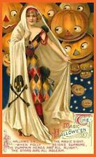 HALLOWEEN, WOMAN IN COSTUME, FLOATING, SMILING JOLS, FRIDGE MAGNET