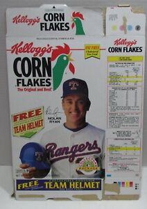 Kellogg's Corn Flakes Cereal Box w/ Nolan Ryan & Team Helmets Offer, 1991