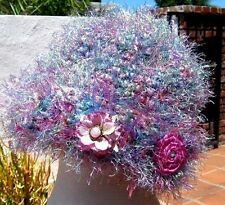 MAGENTA PINK LAVENDER FUZZY HAT WITH 2 REMOVABLE FLOWER PINS AND FREE SHIPPING