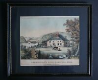 Currier & Ives 1872-1874 Hand-Colored Lithograph Washington's Head-Quarters
