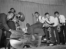 """The Crowley Hot Band, JAZZ, BLUES, antique photo, Trumpet, Bass, Sax, 20""""x14"""""""