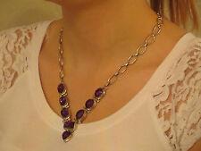 Brilliant Sterling Silver 34ct + Multi-Shape Cut Amethyst Gemstone Necklace