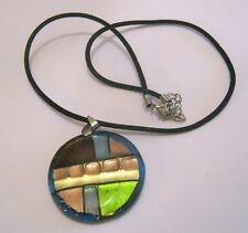 Lovely black bootlace style necklace with abstract circular glass pendant