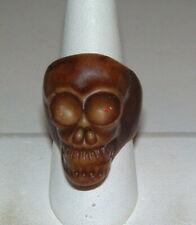 Vintage Huge Unusual Brown Wood Skeleton Big Chunky Ring Size 9 1/2 UNISEX