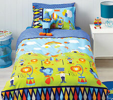 Cubby House Kids Circus Fun Animal Reversible DOUBLE Size Quilt Doona Cover Set