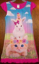 Girls Nightgown sz 7-8 KOMAR KIDS Pink w/Ruffles Duck,Bunny,Cat & Flowers NWT
