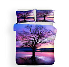 Scenery Sunset Palm Tree Sea Beach Falling Leaves Bedding Duvet Quilt Cover Set