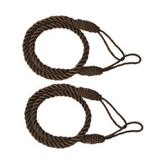 2pcs Curtain Tiebacks Tassel Thick Twisted Rope for Living Room Brown