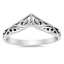 Filigree Celtic Chevron Band 925 Sterling Silver Thumb Ring Sizes 3-12 NEW