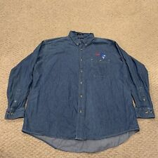 VTG New England Patriots Denim Long Sleeve Button Down Shirt NFL Mens 2XL