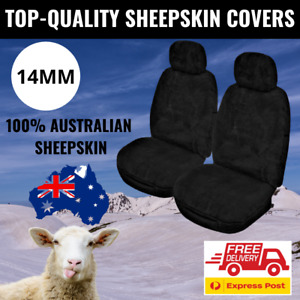 Sheepskin Seat Covers Black 14MM 100% Genuine Australian Sheepskin Airbag Safe