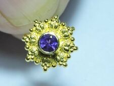 92.5 Sterling Silver With Gold Polished 100% Natural Purple Amethyst Nose Ring