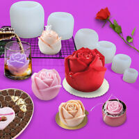 3D Rose Flower Silicone Fondant Cake Mold  Plant Chocolate DIY Baking Mould US