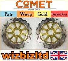 Pair of Front Gold Wavy Brake Discs Kawasaki ZZR 1200 2002-04 W913GD