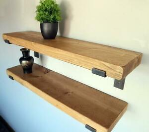Rustic- Thick- Lipped Metal Bracket Shelf -Reclaimed Wood - Metal Bracket Shelf