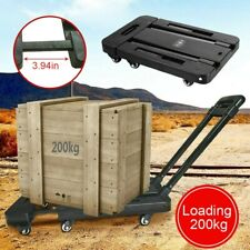 Folding 6 Wheels Cart Hand Truck Dolly Push Collapsible Trolley Luggage 440 Lbs