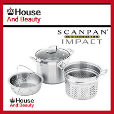 NEW Scanpan Impact 3pc S/Steel Multi Pot Set Stockpot 24cm Code 22024! RRP $299