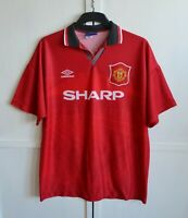 MANCHESTER UNITED 1994/1995 VINTAGE HOME FOOTBALL SHIRT JERSEY KIT UMBRO SIZE XL