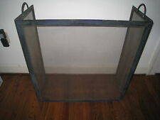 Vintage Fireplace Guard Cover Black Iron Frame Mesh Folding Sides Heavy Solid