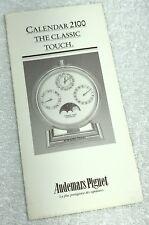AUDEMARS PIGUET Calendar 2100 The Classic Touch Instructions Booklet Leaflet