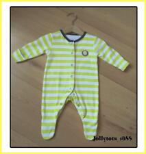 Baby Girls Clothes Age 1 month White Yellow Striped Cotton All-In-One Sleepsuit