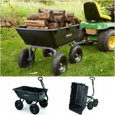 Heavy Duty Dump Cart Tractor Trailer Wheelbarrow Landscaping Wagon Tilt Truck lb