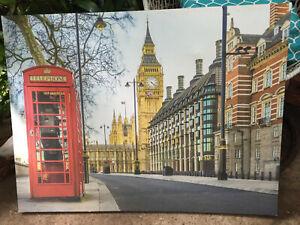"LONDON, BEG BEN, TELEPHONE BOX - Canvas Picture - 47"" x 35.5"" (120cm x 90cm)"