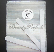 "50pcs Professional Acrylic Nail File 80/80 Grit Zebra Sanding Files 7"" Wholesale"