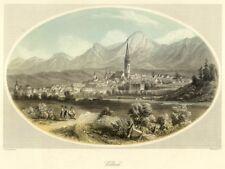 Villach, Gesamtansicht, altkolorierter Stahlstich von ca. 1860