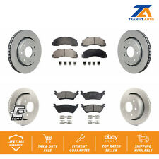 Front Rear Coated Disc Rotors & Ceramic Brake Pads Fits 2012-2014 Ford F-150
