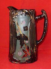 Gorgeous Antique Victorian Blackware or Jackfield Bramble Pitcher c1890