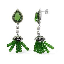 Green Glass, White & Green Austrian Crystal Dangle Earrings In Stainless Steel
