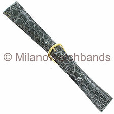 20mm deBeer Gray handmade Genuine Crocodile Padded Stitched Watch Band