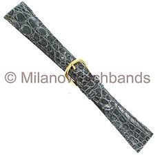20mm deBeer Gray handmade Genuine Crocodile Padded Stitched Watch Band