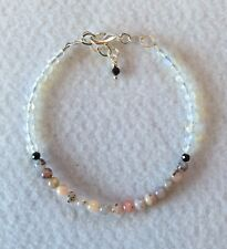 Pink Opal bracelet with either moonstones or black tourmaline, Sterling silver