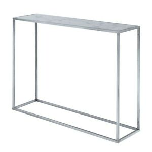 Convenience Concepts Gold Coast Marble Console Table, Marble/Silver - 413499S