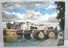 JOSEPH HENNINGER ORIGINAL ART WATERCOLOR PAINTING PONT NEUF PARIS FRANCE