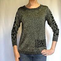 Shangyiceng Metallic Rear Button-Down Sweater, Black & Metallic Silver, Small
