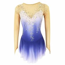 Competition Figure Skating Dress Long Sleeves White Lilac Ombre