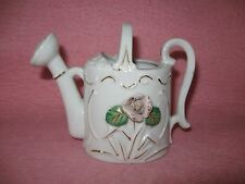 Royal Ceramic Watering Can with Raised Pink Rose Japan Hand Painted Gold Accents