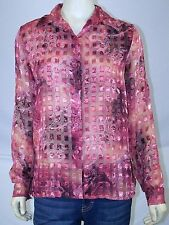 Apparenza Pink Rose Sheer Button Long Sleeve Top Womens Size Small 4 6