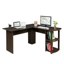 FCH Office L-Shaped Computer Desk Corner Laptop PC Table Bookshelves Dark Brown