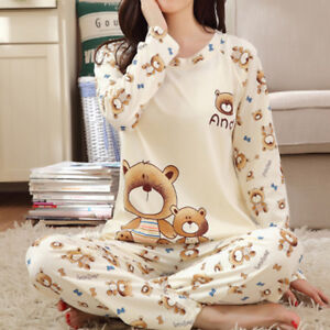 Women Ladies Long Winter Comfy Pyjamas PJs Set Loungewear Nightwear Sleepwe lt