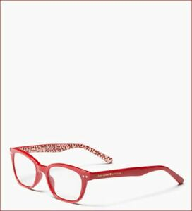 NWT Kate Spade Rebecca2 Red Heart Print Readers Glasses w Case +1.5/+2.0