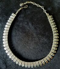 """Vintage Coro Silver Tone Stacked Hearts Necklace Choker 17"""" Adjustable Length"""