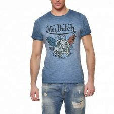 VON DUTCH T-Shirt Col Rond Coton Homme Wing Coloris Bleu WING/I
