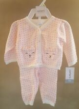 Carters Baby Girls Bear Sweater Set 3 months pink and white