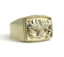 Colombia 14K Yellow Gold Flat Top Ring, Size 10.25, 12.52 Grams
