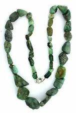 18 Inch Natural Tumble Polish Graduated Emerald Nugget Sterling Clasp Necklace