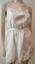 CYNTHIA ROWLEY Cream Silk Pink Floral Print Glitter Detail Long Length Top 2 UK6